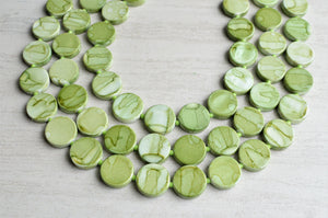 Green Beaded Necklace Lucite Statement Necklace Gifts For Her - Charlotte