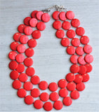 Red Statement Necklace Beaded Lucite Necklace Multi Strand Necklace Gift For Her - Charlotte