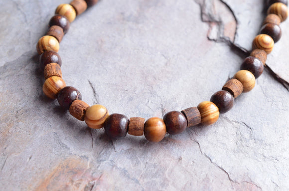 Long Mens Necklace Beaded Surfer Necklace Wood Necklace Gifts For Him -  Goliath