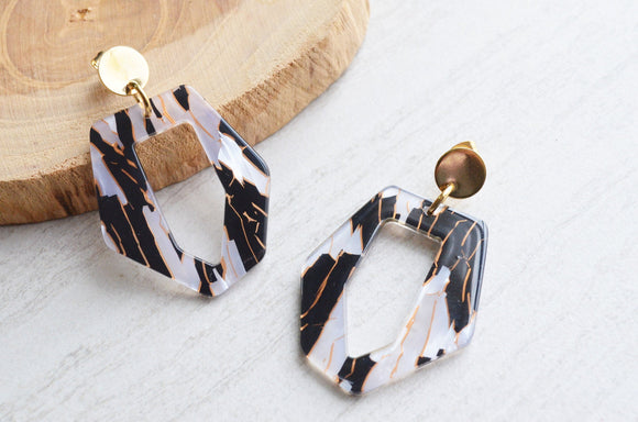 Black Statement Earrings, White Lucite Earrings, Acrylic Earrings, Big Earrings, Gift For Her - Mia