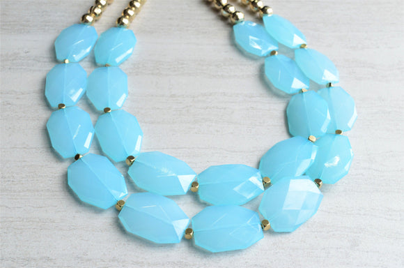 Aqua Blue Statement Necklace Beaded Acrylic Necklace Gifts For Her - Ruby