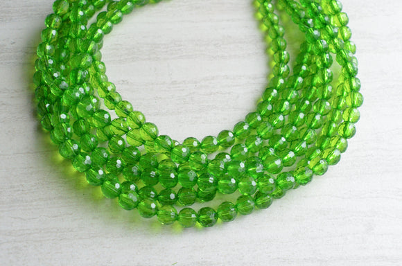 Green Statement Necklace Beaded Acrylic Necklace Chunky Multi Strand Necklace Bridesmaid Gifts - Angelina