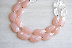 Peach Statement Necklace, Bead Clear Necklace, Acrylic Necklace, Lucite Necklace, Chunky Necklace, Gifts For Her - Ruby