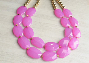 Pink Gold Beaded Acrylic Statement Necklace Gifts For Her - Ruby