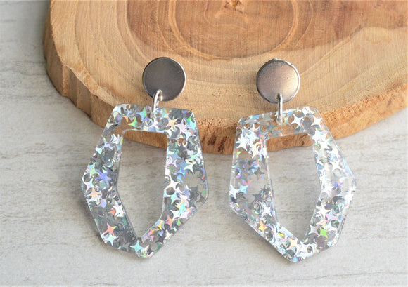 Clear Statement Earrings Glitter Resin Lucite Earrings Big Acrylic Earrings Gifts For Her - Mia