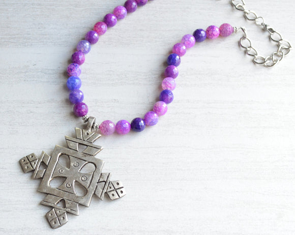 Purple Statement Necklace, Cross Necklace, Beaded Necklace, Long Necklace, Gift For Her - Imi