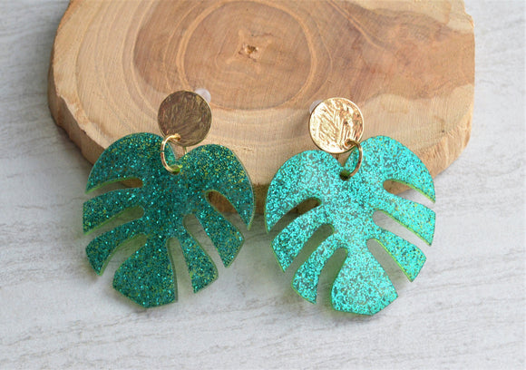 Green Statement Earrings Palm Earrings Tropical Earrings Monstera Earrings Big Earrings Gift For Her - Tropicana