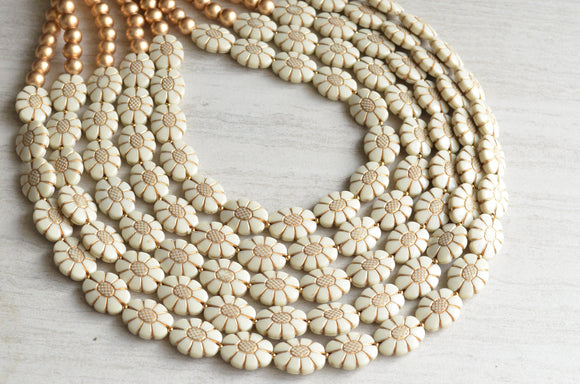 Ivory Gold Statement Necklace Beaded Acrylic Flower Necklace - Ginny