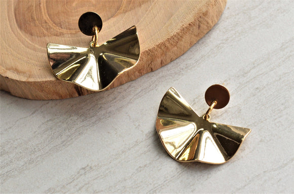 Gold Statement Earrings, Clip On Earrings, Fan Earrings, Geometric Earrings, Gift For Her