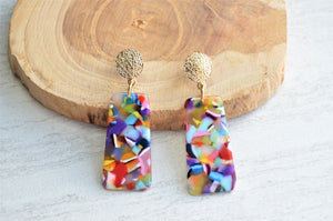 Multi Color Earrings, Statement Earrings, Colorful Earrings, Lucite Earrings, Terrazzo Earrings, Gift For Her - Nevaeh