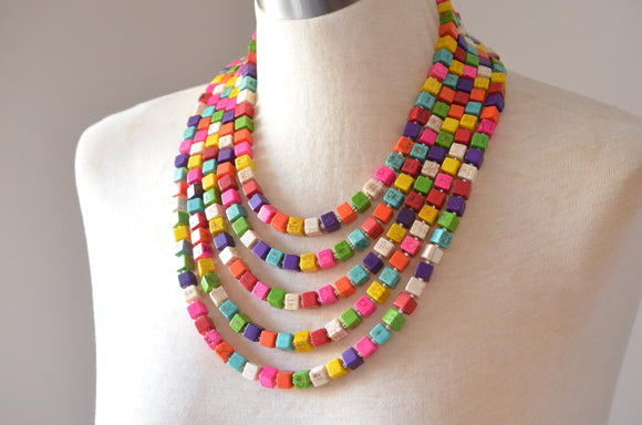 Multi Color Statement Necklace, Beaded Chunky Necklace, Colorful Necklace, Gift For Her - Cubist