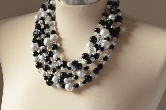 Crystal Statement Necklace Pearl Beaded Necklace Chunky Multi Strand Necklace Bridal Jewelry - Melissa