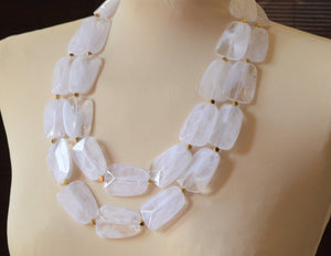 White Statement Necklace, Lucite Necklace, Acrylic Necklace, Chunky Necklace, Multi Strand, Gift For Her - Jane