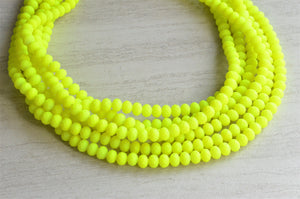 Neon Yellow Statement Necklace, Matte Necklace, Rubber Necklace. Bead Necklace, Chunky Necklace- Aria