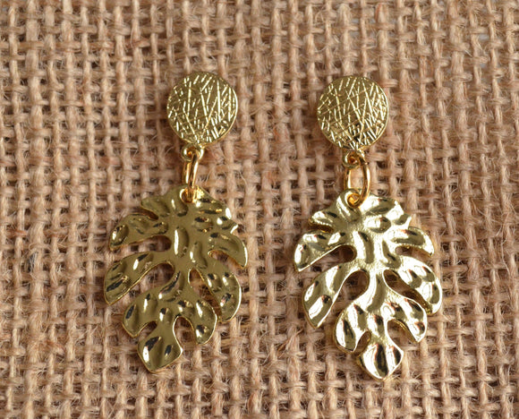 Tropical Leaf Statement Earrings Monstera Earrings Big Gold Earrings Gifts For Her