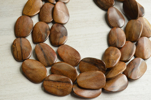 Wood Statement Necklace Brown Beaded Necklace Chunky Multi Strand Necklace Gift For Her - Miranda