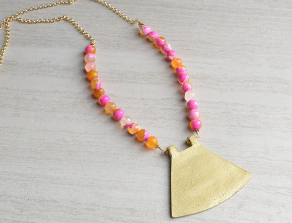 Pink Statement Necklace, Orange Bead Necklace, Agate Necklace, Gold Pendant Necklace, Gift For Woman - Ultimo