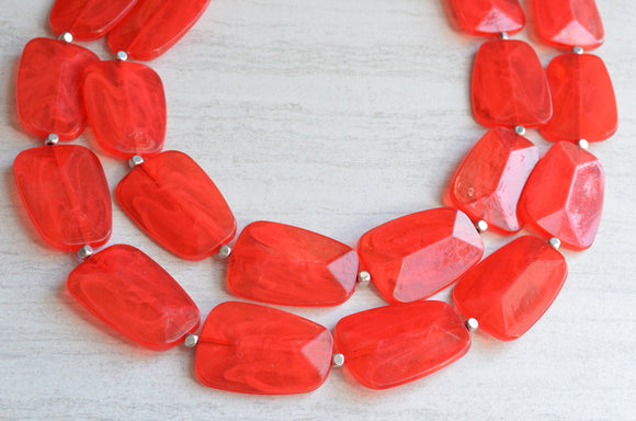 Red Statement Necklace, Acrylic Necklace, Chunky Necklace, Big Bead Necklace, Multi Strand, Gifts For Her - Jane