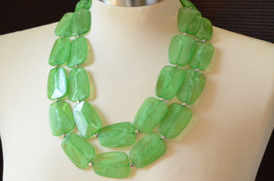 Green Statement Necklace, Acrylic Necklace, Chunky Necklace, Multi Strand, Gift For Her - Jane