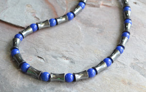 Blue Beaded Necklace, Mens Jade Necklace, Stone Necklace, Man Necklace, Gift For Him - Colton