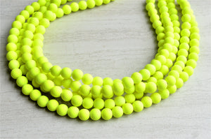 Neon Yellow Statement Necklace Rubber Beaded Necklace Chunky Multi Strand Necklace Gift For Her - Alana