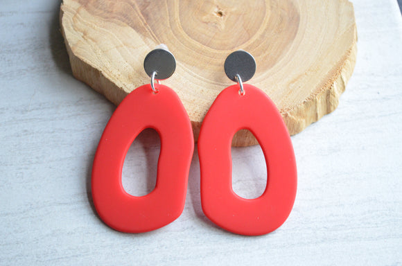 Red Statement Earrings Lucite Big Earrings Large Hoop Earrings Gifts For Her - Sylvia