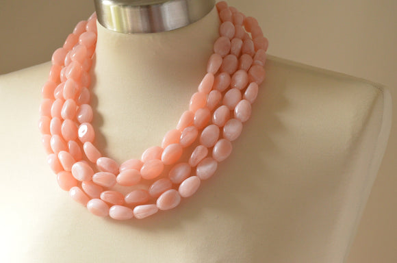 Pink Statement Necklace, Acrylic Bead Necklace, Chunky Necklace, Lucite Necklace, Gift For Her - Lauren