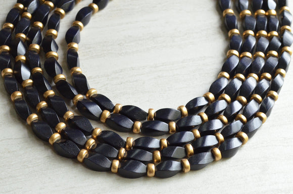 Black Gold Wood Statement Necklace Beaded Chunky Necklace Gifts For Her - Sabrina