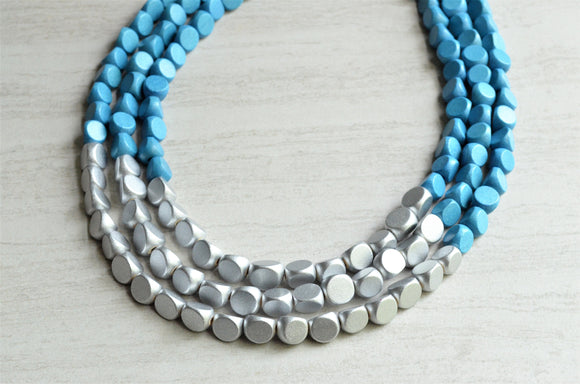 Blue Silver Wood Statement Necklace Beaded Chunky Necklace Bridesmaid Gifts - Lisa