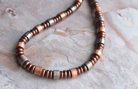 Copper Mens Necklace Beaded Necklace Men Jewelry Bronze Necklace Gift For Him - Hudson
