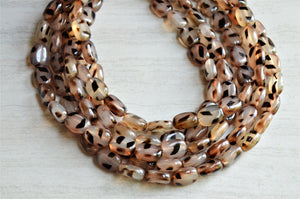 Tortoise Shell Necklace, Statement Necklace, Brown Bead Necklace, Lucite Chunky Necklace, Gift For Women - Lauren