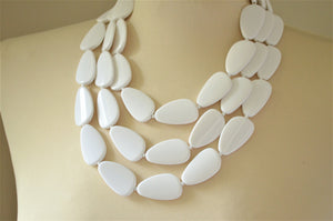 White Statement Necklace Acrylic Beaded Necklace Bridesmaid Gifts -  Leilani