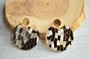 Black Blue Statement Earrings Lucite Big Earrings Gifts For Her - Hanna