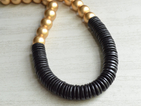 Gold Black Statement Necklace Chunky Beaded Wood Necklace Gifts For Her - Elena