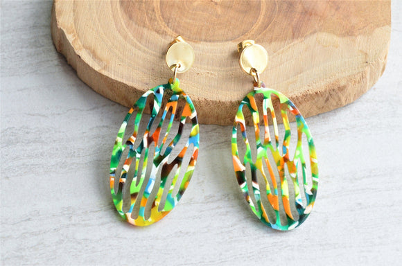 Green Yellow Lucite Statement Earrings Big Acrylic Earrings Gifts For Women - Greta