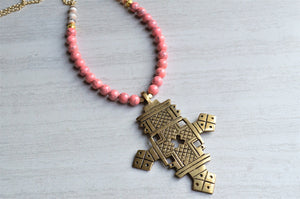Pink Statement Necklace, Ethiopian Cross Necklace, Bead Necklace, Long Necklace, Boho Jewelry, Gift For Her - Imi