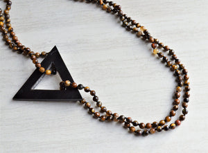 Tiger Eye Black Pendant Statement Necklace Knotted Long Necklace Boho Jewelry - Topper