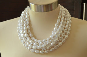 White Ivory Pearl Statement Necklace Beaded Chunky Necklacs Multi Strand Necklace - Belle