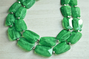 Green Statement Necklace, Bead Necklace, Acrylic Necklace, Chunky Necklace, Multi Strand, Gift For Woman - Jane
