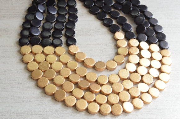 Black Gold Statement Necklace, Wood Beaded Necklace, Chunky Multi Strand Necklace - Gift For Her - Regan