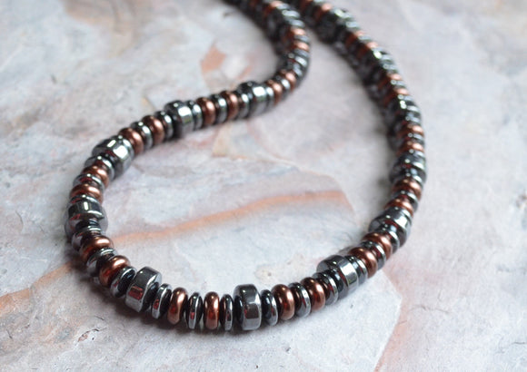 Gray Mens Necklace Beaded Necklace Copper Necklace Hematite Necklace Mens Gift - Statham