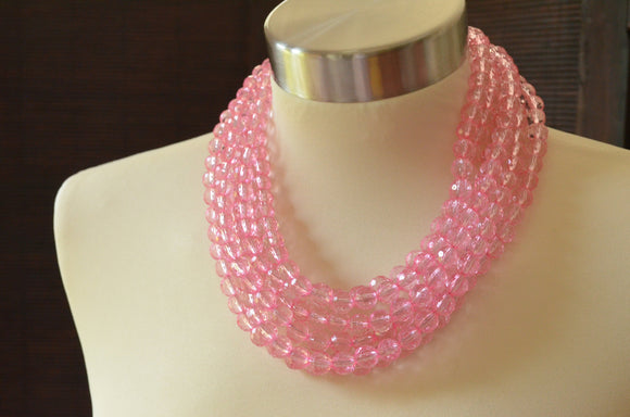 Pink Statement Necklace Beaded Acrylic Chunky Necklace Multi Strand Lucite Necklace Gifts For Her - Angelina