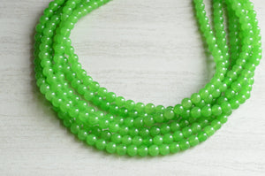 Green Statement Necklace, Bead Necklace, Jade Necklace, Chunky Necklace, Multi Strand, Gift For Her - Michelle