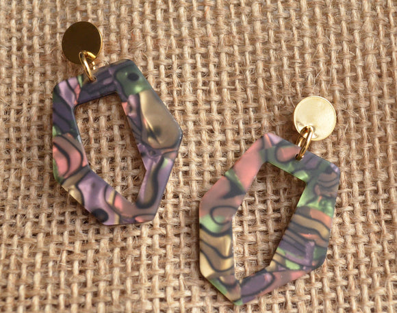 Multi Color Statement Earrings Lucite Big Earrings Acrylic Large Earrings Gifts For Her - Mia