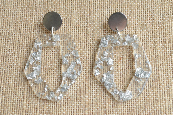 Clear Statement Earrings, Silver Earrings, Large Earrings, Big Lucite Earrings, Acrylic Earrings, Gift For Her - Mia