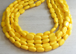 Yellow Statement Necklace Lucite Beaded Necklace Chunky Jewelry Gifts For Women - Lauren