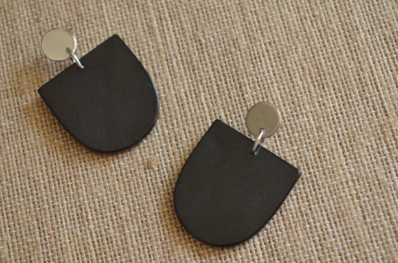 Black Silver Statement Earrings Lucite Post Earrings Acrylic Gold Earrings Gifts For Women - Nora