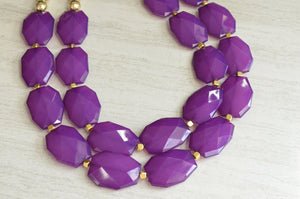 Purple Gold Statement Necklace Beaded Acrylic Necklace Gifts For Her - Ruby