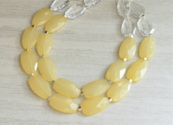 Yellow Statement Necklace Beaded Acrylic Necklace Gifts For Her - Ruby