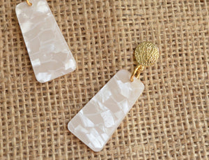 Ivory Statement Earrings Big Lucite Earrings Large Earrings Gift For Her - Nevaeh